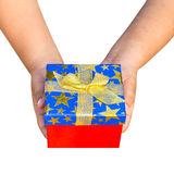 Gift box on hand boy holding isolated Royalty Free Stock Photography