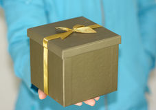 Gift box in hand Royalty Free Stock Photo