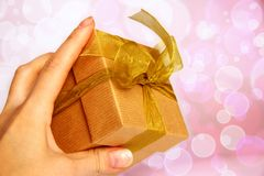 Gift box in hand Stock Photos
