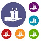 Gift box in hand icons set Royalty Free Stock Images
