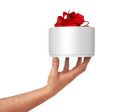 Gift Box in hand. Isolated on white Royalty Free Stock Photos