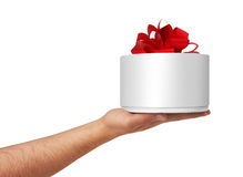 Gift Box in hand. Isolated on white Stock Photo