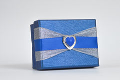 Gift box. Hand made gift box with a blue strip Royalty Free Stock Photos