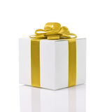 Gift box with handmade yellow ribbon bow Stock Photo