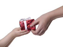 Gift box in hands Stock Images