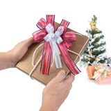 Gift box in hands. Royalty Free Stock Image