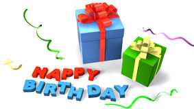 Gift box with happy birthday Royalty Free Stock Image
