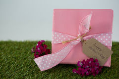 Gift box with happy mother day tag and flowers on grass Stock Photo