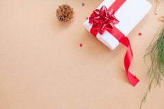 Gift box have bind from red ribbon with decoration items of Christmas day Stock Images