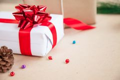 Gift box have bind from red ribbon with decoration items of Christmas day Stock Photography