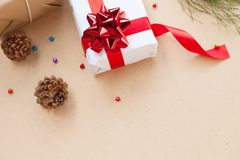 Gift box have bind from red ribbon with decoration items of Christmas day Royalty Free Stock Image