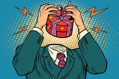 Gift box instead of a head. Holidays and sale. Vintage pop art retro illustration Royalty Free Stock Photography