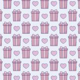 Gift box and heart background. Colorful design. vector illustration Royalty Free Stock Photos