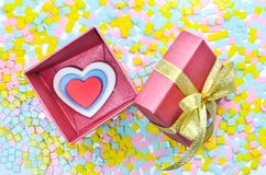 Gift Box and  heart on colorful background,heart on colorful background,valentines day Royalty Free Stock Photography