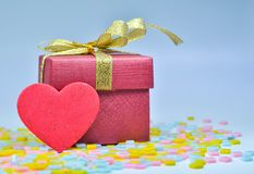 Gift Box and  heart on colorful background,valentines day Royalty Free Stock Photography