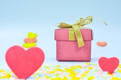 Gift Box and  heart on colorful background,heart on colorful background,valentines day. Royalty Free Stock Photos