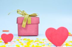 Gift Box and  heart on colorful background,heart on colorful background,valentines day Royalty Free Stock Photo