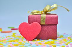 Gift Box and  heart on colorful background,heart on colorful background,valentines day Royalty Free Stock Images