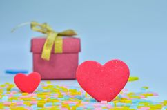 Gift Box and  heart on colorful background,heart on colorful background,valentines day Stock Photo
