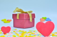 Gift Box and  heart on colorful background,heart on colorful background,valentines day Stock Photos