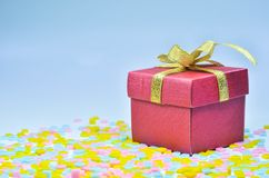 Gift Box and  heart on colorful background,heart on colorful background,valentines day Royalty Free Stock Photos