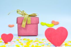 Gift Box and  heart on colorful background,heart on colorful background,valentines day Stock Photography