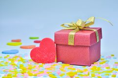 Gift Box and  heart on colorful background,heart on colorful background,valentines day Stock Image