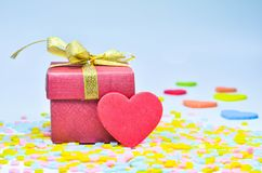 Gift Box and  heart on colorful background,heart on colorful background,valentines day Royalty Free Stock Image