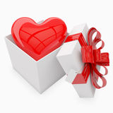 Gift box with heart inside. Gift box with Bow & focus on tag Stock Images