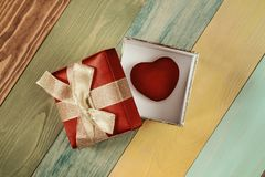 Gift box with heart inside Stock Photo
