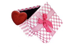 Gift box with heart. Isolated on white Royalty Free Stock Image