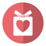 Gift box heart love present shadow. Vector illustration eps 10 Royalty Free Stock Photography
