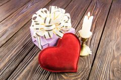 Gift box and heart Royalty Free Stock Images