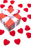 Gift box with heart ornaments Royalty Free Stock Photography