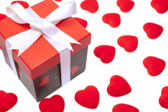 Gift box with heart ornaments Stock Image