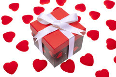 Gift box with heart ornaments Royalty Free Stock Image