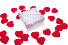 Gift box with heart ornaments Stock Photo
