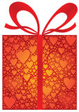 Gift Box with Heart Pattern Paper in Red Colors Royalty Free Stock Images