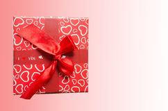 Gift box. Heart pink background Royalty Free Stock Photo