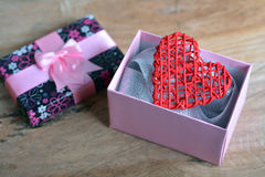 Gift box with heart Stock Photography