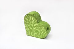 Gift box in heart shape. Green gift box in heart shape stock images