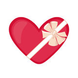 Gift Box in heart shape in flat style. Stock Photo