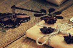 Gift box, heart shape and handmade flower Royalty Free Stock Photos