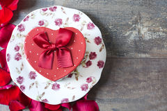 Gift box with heart shape Royalty Free Stock Images