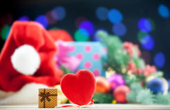 Gift box and heart shape toy Royalty Free Stock Images
