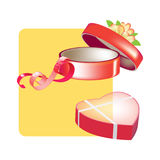 Gift box with heart-shaped and circle shapes sweets. Pleasant surprise. Royalty Free Stock Photo