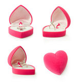 Gift box with heart shaped engagement ring Royalty Free Stock Photography