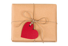 Gift box with heart-shaped labels Royalty Free Stock Image