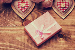 Gift box, heart shapes and roses Royalty Free Stock Images