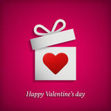 Gift box with heart symbol. Valentine's day concept. Stock Photos